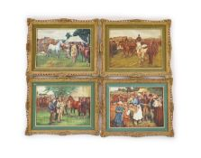 Leighton Maybury after Sir Alfred Munnings - a set of four porcelain plaques depicting horse fairs,
