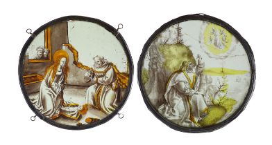 Two 16th century Netherlandish stained glass roundels, ''The Nativity'' and ''St. John on Patmos,23