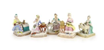 A composed set of five Meissen figures of the Senses, 19th/20th century,on shaped rectangular