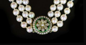 A mid 20th century triple strand cultured pearl choker necklace, with gold, seed pearl and enamel