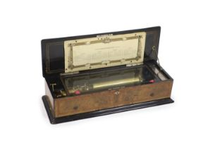 A late 19th century Swiss harpe harmonique piccolo cylinder music boxaccommodating four 33cm brass