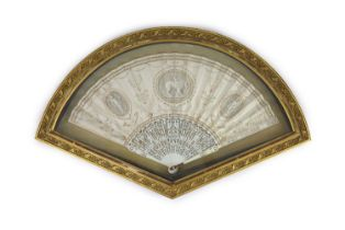 A fine late 18th century ivory and printed vellum fan, engraved by F. Bartolozzi (1727-1815),the
