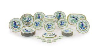 A Hermes, Paris ' Toucans' part dinner serviceincluding ten menu holders, ten side plates, eleven