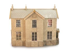 An unusually large painted pine doll's house, modelled upon a Victorian lodge house, Estate