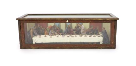 Attributed to Hans Mayr (active 1870) - a carved and painted limewood tableau of The Last Supper,