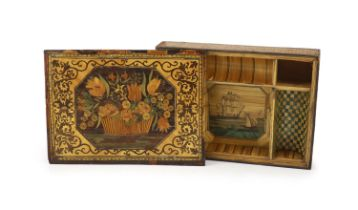 A 19th century French coloured straw work box and detachable cover, 37cmthe lid decorated with a