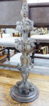 A 19th century decorative carved limed oak finial, height 80cm