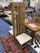 A set of six Macintosh style oak high back dining chairs. H-151cm.
