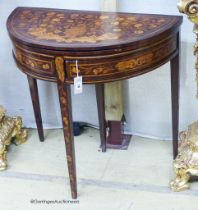 An early 19th century Dutch floral marquetry walnut D shaped folding card table, width 80cm, depth