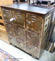 An industrial style nine door metal locker, width 91cm, depth 49cm, height 106cm