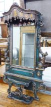 An Iberian green-painted and parcel-gilt rectangular wall mirror,foliate-carved and pierced and