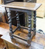 A Victorian 17th century style oak stool, length 46cm, depth 28cm, height 56cm