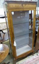 A late 19th century Louis XV style vitrine, with a shaped marble top above a single glazed panelled