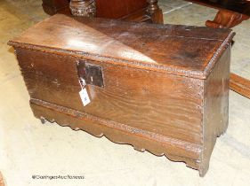 A late 17th / early 18th century small oak six-plank coffer, length 92cm, depth 34cm, height 49cm