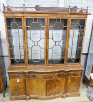 A Georgian style mahogany serpentine front library bookcase, width 160cm, depth 50cm, height 198cm