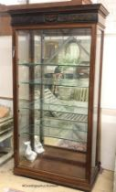 A large glazed mahogany display cabinet, width 108cm, depth 46cm, height 202cm