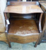 A George III mahogany serpentine front commode, width 58cm, depth 49cm, height 52cm