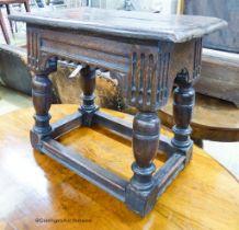 A 17th century style oak joint stool, width 55cm, depth 33cm, height 50cm