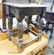 An Elizabethan style rectangular oak joint stool, width 43cm, depth 28cm, height 47cm