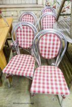 A set of ten retro aluminium bistro chairs