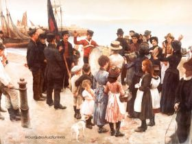 """After Stanhope Alexander Forbes (1857-1947) - a large coloured print - """"Quayside gathering'', width"""