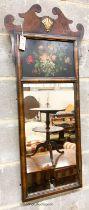 A George I style painted walnut fret cut wall mirror, width 46cm, height 107cm