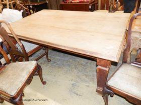 An Arts & Crafts pine rectangular kitchen table, 184cm x 120cm H.76cm
