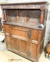 An early 18th century oak court cupboard, width 128cm, depth 59cm, height 172cm