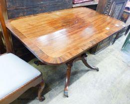 A small Regency banded mahogany rectangular tilt top breakfast table, length 120cm, depth 74cm,