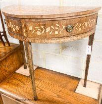 A 19th century Dutch marquetry walnut demi lune side table, width 76cm, depth 39cm, height 74cm