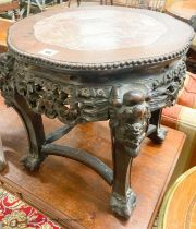 A Chinese carved hardwood jardiniere stand with rouge marble inset top, width 44cm, height 45cm