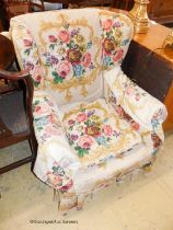 A Victorian wing armchair and one other armchair