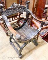 An ebonised Sagrada style elbow chair