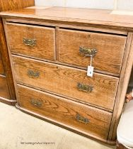 A late Victorian oak chest of drawers (formerly a dressing chest), width 96cm, depth 50cm, height