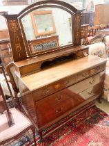An Edwardian Art Nouveau inlaid mahogany dressing chest, width 122cm, depth 55cm, height 160cm