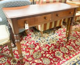 A Victorian mahogany two drawer side table, width 106cm, depth 52cm, height 73cm