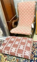 A small rectangular Kelim foot stool, 63 x 43cm together with a Victorian style rocking chair