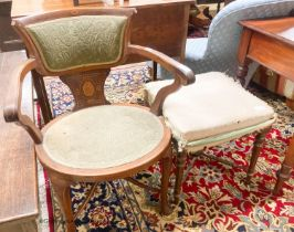 An Edwardian marquetry inlaid mahogany elbow chair and a Victorian dressing stool