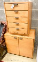 A Heals cabinet and filing drawers, largest width 70cm, depth 45cm, height 64cm