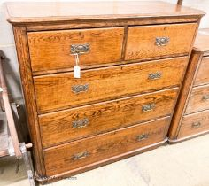 A late Victorian oak chest of drawers, width 120cm, depth 50cm, height 160cm
