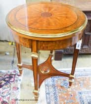 A French transitional style circular centre table, 62cm diameter, height 76cm