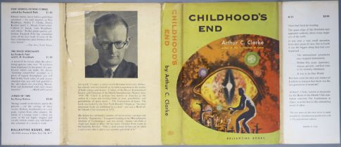° Clarke, Arthur C - Childhood's End, 1st edition, red cloth, in unclipped d/j, with 1 inch tear
