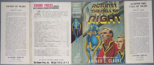 ° Clarke, Arthur C - Against the Fall of Night, 1st edition, blue cloth, with unclipped d/j, with