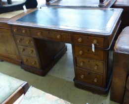 A late Victorian oak pedestal desk, length 122cm