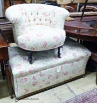 A late Victorian upholstered ottoman, length 112cm, depth 58cm, height 48cm together with a