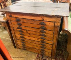 A late Victorian pine eleven drawer plan chest, W.118cm D.74cm H.101cm