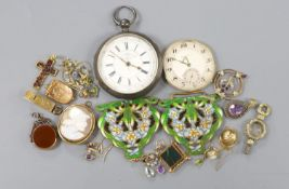 Sundry jewellery etc. including a yellow metal, amethyst and seed pearl pendant, enamelled gilt