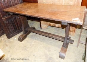 A small 18th century style oak refectory table, length 126cm, depth 55cm, height 71cm