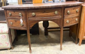 A George III mahogany bow front sideboard, W.150cm D.62cm H.90cm