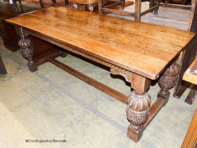 An Elizabethan style rectangular oak refectory dining table, width 198cm, depth 77cm, height 78cm